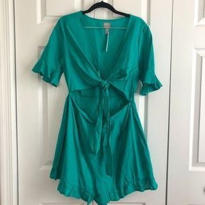 ASOS Teal Romper with Ruffles *NWT
